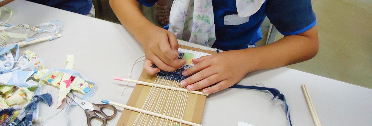 キッズスクール 古着から裂き織コースター作り